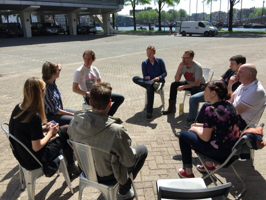 Group break out session discussing community management in Creative Hubs